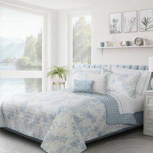 New Dream Blue King 3 Piece Reversible Floral Quilt Set